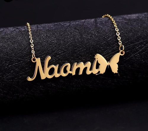 Personalized Name Necklace With  Butterfly Symbol