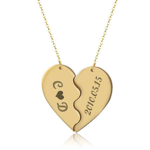 Personalized Engrave Heart Pendant Necklaces