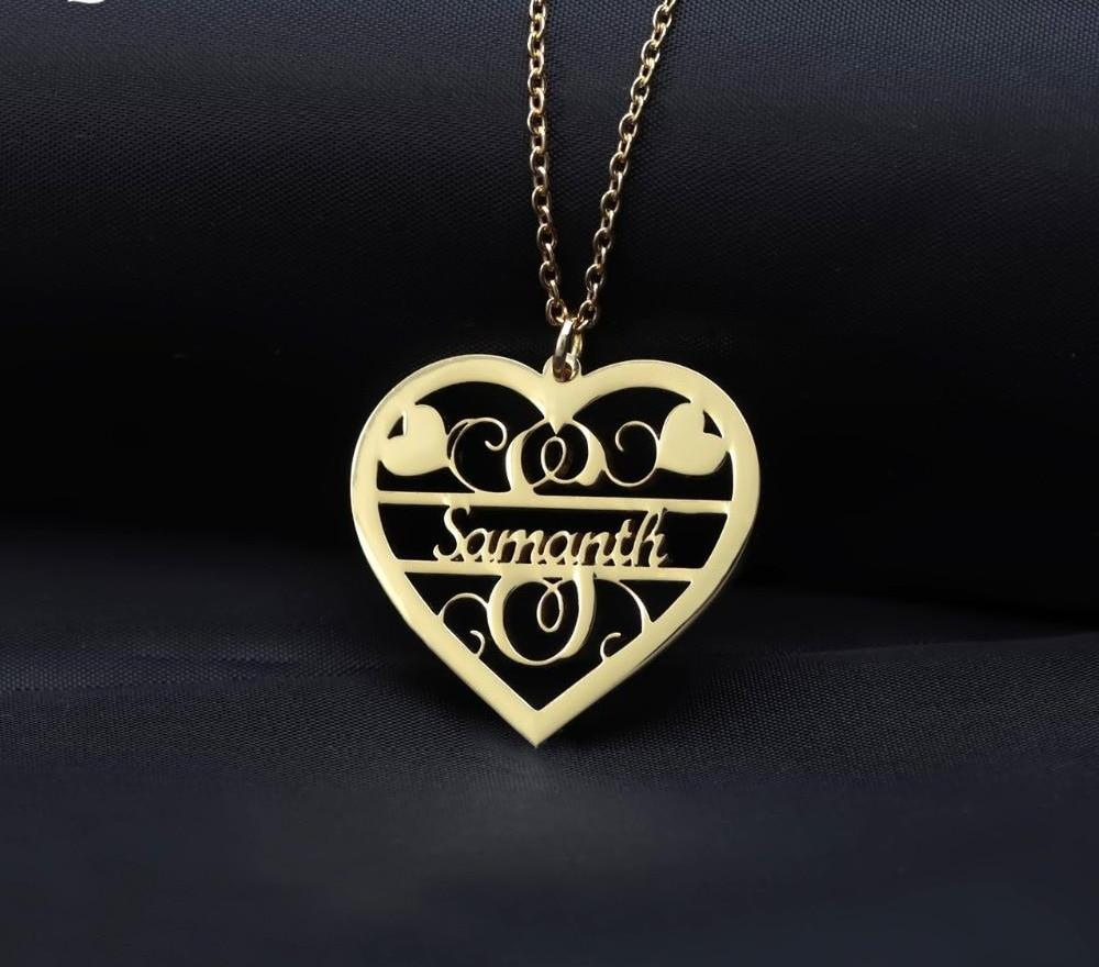 Vintage Name Heart Necklace