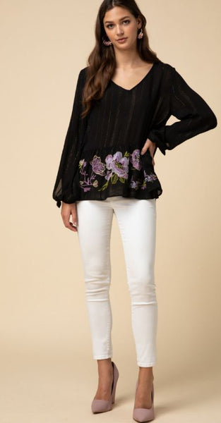 Entro - Black Floral Embroidered Blouse