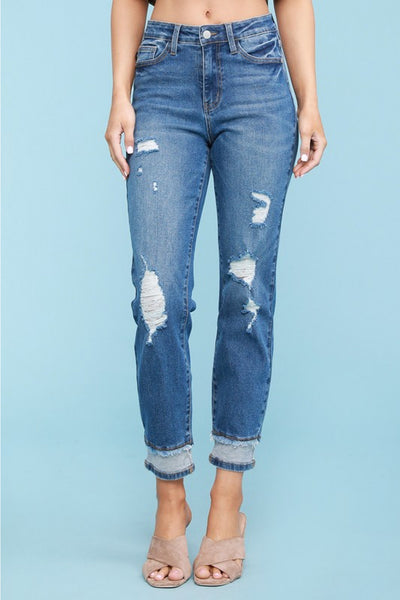 JUDY BLUE - High Waisted Inverted Hem Slim Fit Jeans