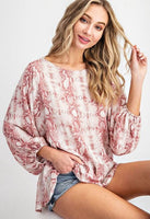 Ee:some - Pink Python Print Blouse