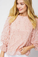 Merci - Textured Tassel 3/4 Sleeve Blouse