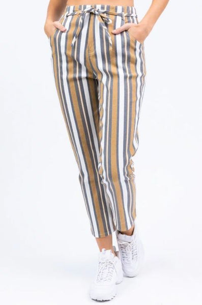 LE LIS - Striped Twill High-Waisted Belted Pants
