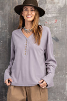 Easel - Brushed Rib Knit V Neck Button Down (2 COLORS)