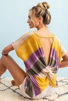 Ee:some - Ombre Tie-dye Twist-Back Blouse