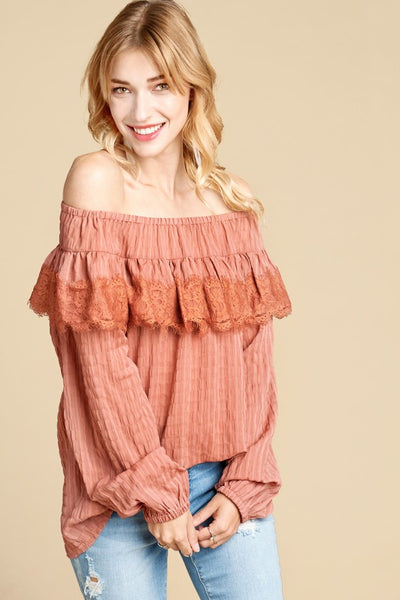 ODDI - Off-Shoulder Lace Trim Crinkle Blouse