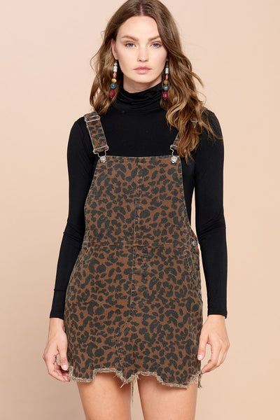 ODDI - Distressed Leopard Overall Mini-Dress