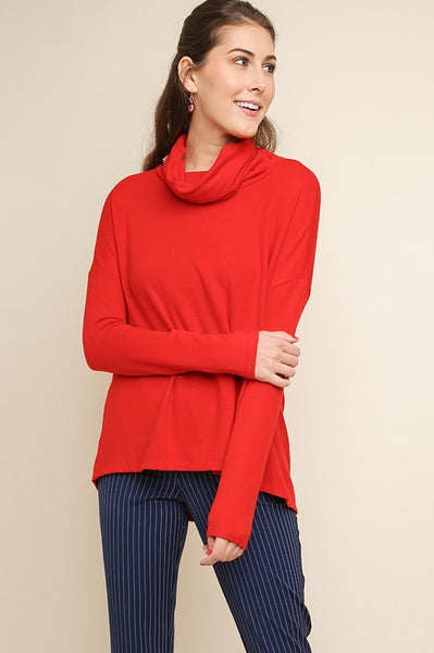 UMGEE - Draped Back Cowl Neck Knit Sweater