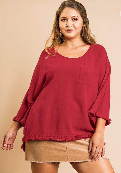 UMGEE - Lightweight Linen Fringe Trim Pocket Tunic (3 COLORS)