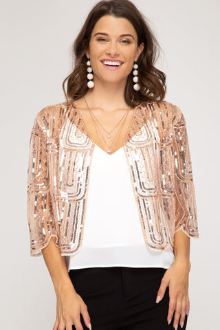 SHE + SKY - Sequined Bolero Cardi (2 COLORS)