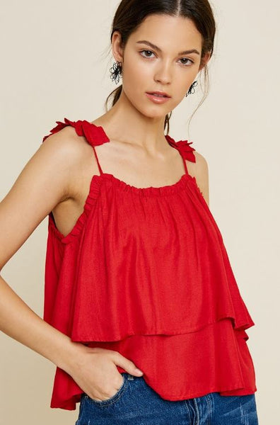 Hayden - Ruffled Shoulder Tank