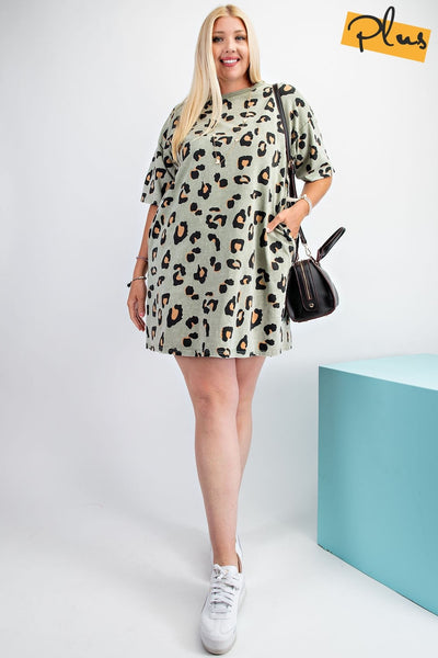 Easel - Faded Sage Leopard Mini Dress