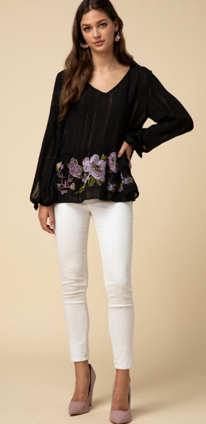Entro - Tinsel Threaded Black Floral Embroidered Blouse