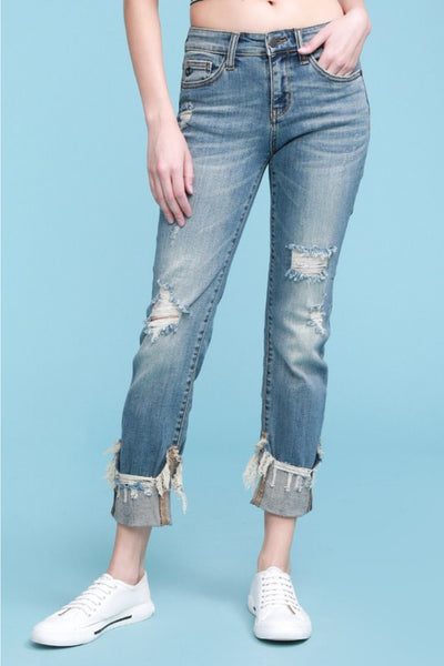 JUDY BLUE - Distressed Cuff Relaxed Fit Jeans