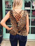 L&B - Leopard Crisscross Back Tank Top
