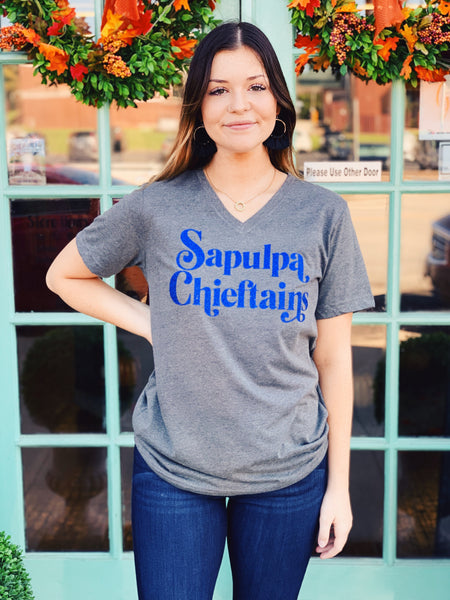 Willow Varsity - Sapulpa Chieftains Glitter V Neck