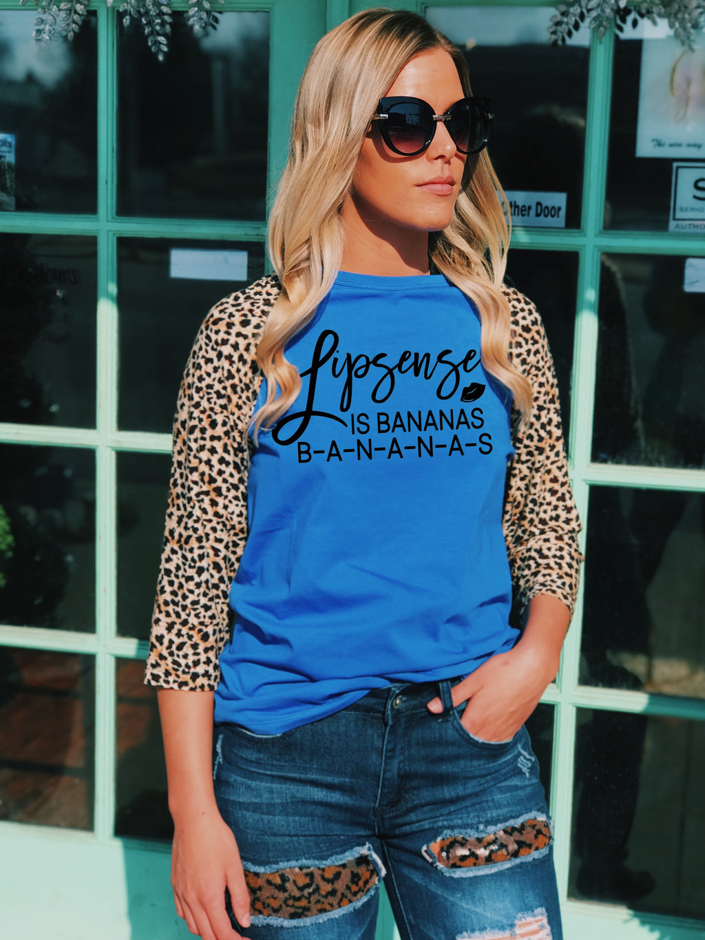 CUSTOMIZE ME! Leopard & Royal Blue Baseball Tee