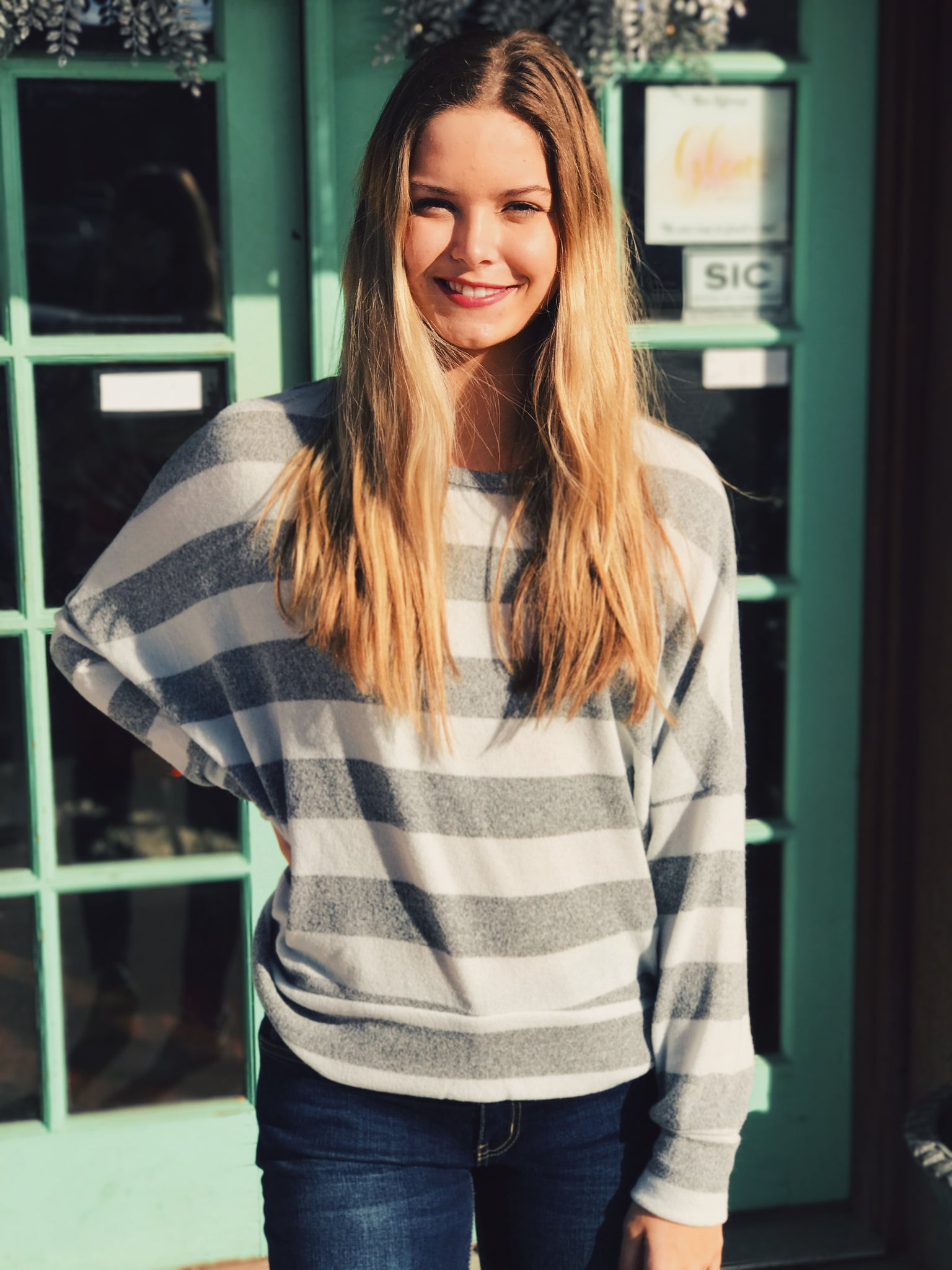 Entro - Grey Striped Open Back Sweater