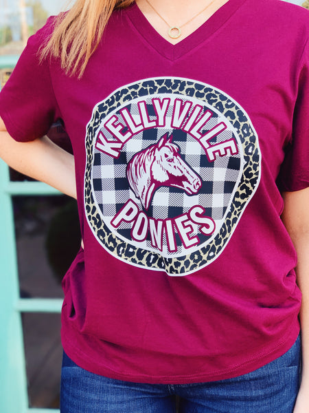 Willow Varsity - Kellyville Ponies Gingham Circle V-Neck