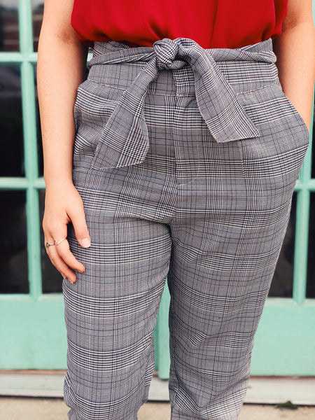 Ee:some - Plaid Paperbag Belted Pants