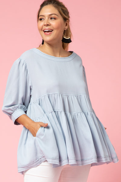 Entro - Tiered Ruffle Babydoll Blouse
