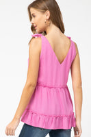 ENTRO - Knotted Shoulder Tiered Ruffle Tank