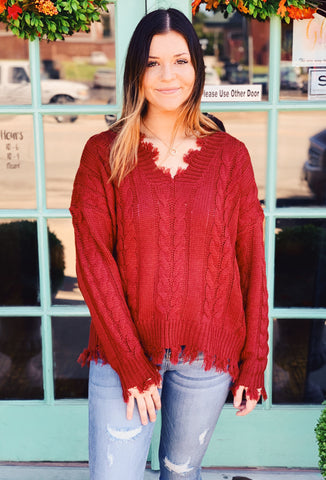 Entro - Distressed Trim Cableknit Sweater