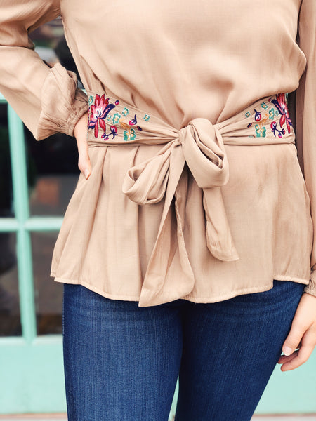 Oddi - Embroidered Belted Blouse