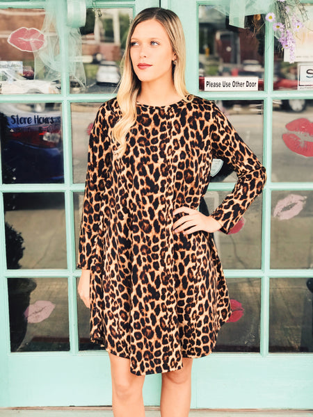 L&B - Leopard French Terry Long Sleeve Flutter Dress