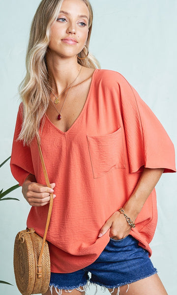 La Miel - Piko Pocket Blouse (2 COLORS)
