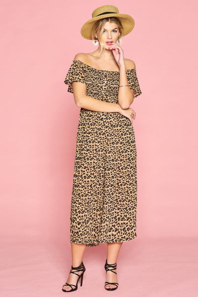 ODDI - Smocked Off-Shoulder Leopard Jumpsuit