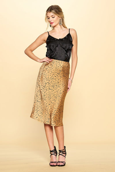 ODDI - Mini Leopard Print Satin Midi Skirt