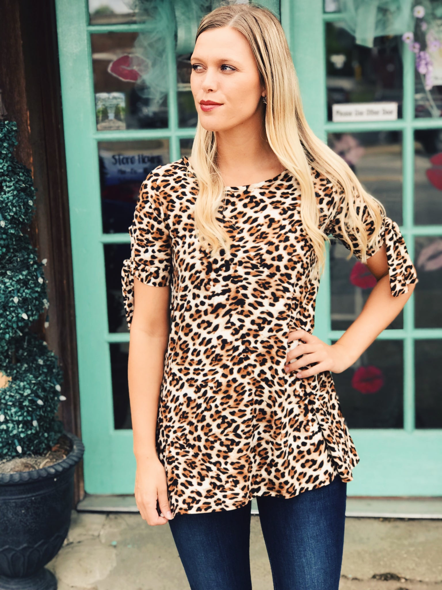 Now & Forever - Leopard Silk Top w/Tie
