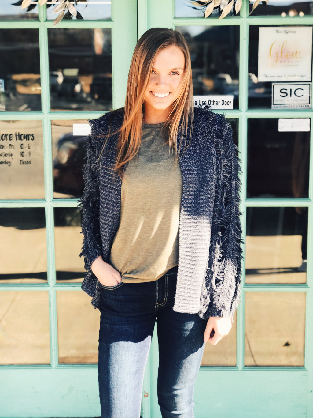 Davi & Dani - Navy Fringe Sweater