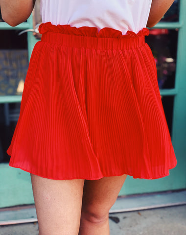 TCEC - Orange Crinkle Pleated Ruffle Waist Flip Skirt