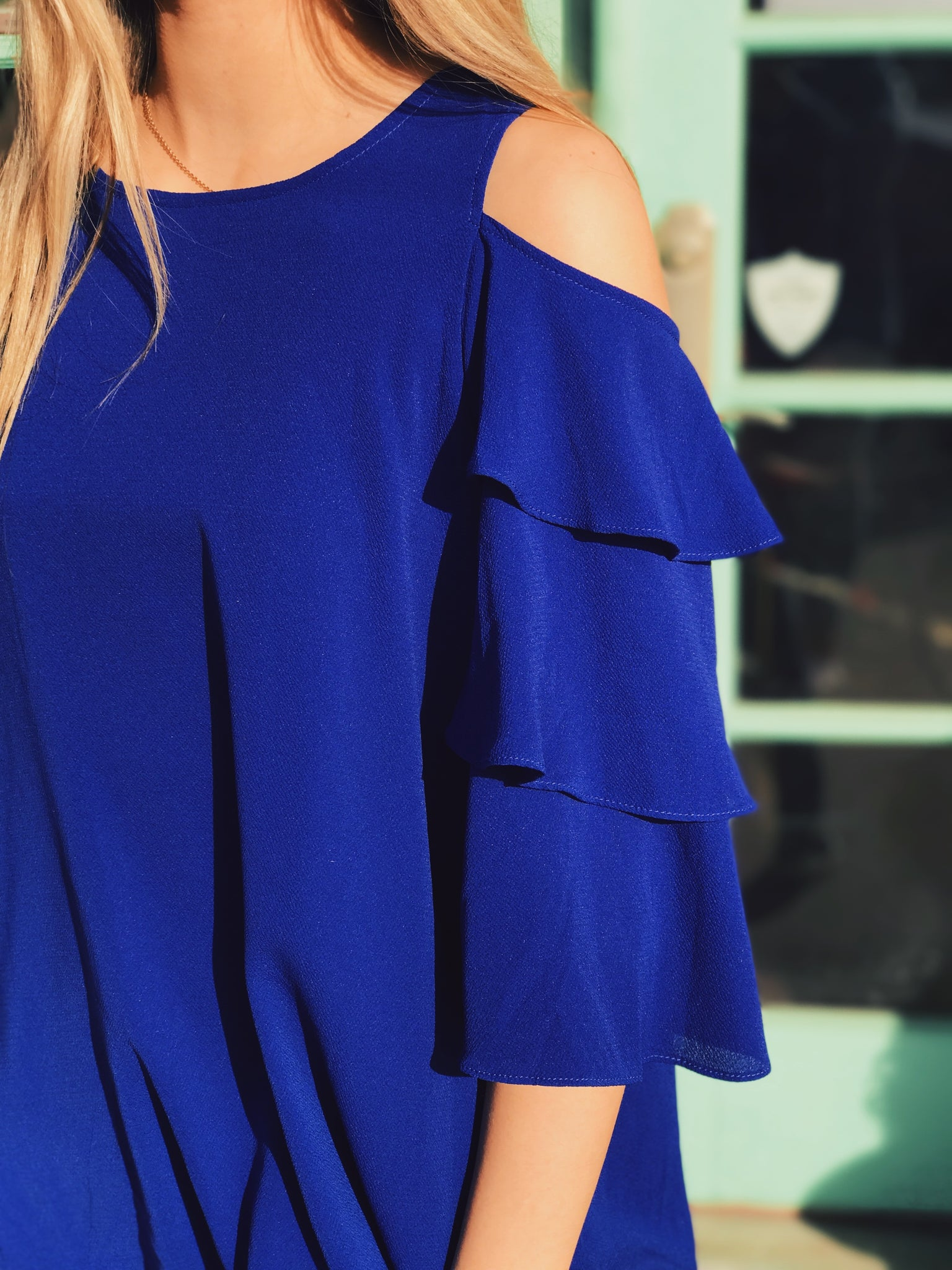 Umgee - Royal Blue Cold Shoulder Ruffle Blouse
