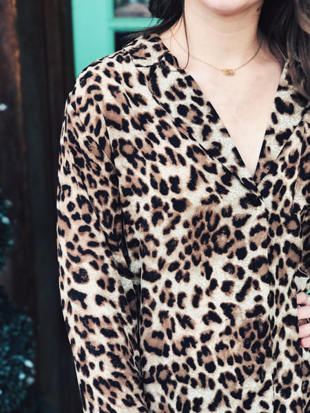 KLD Leopard Print Long Button Down Shirt