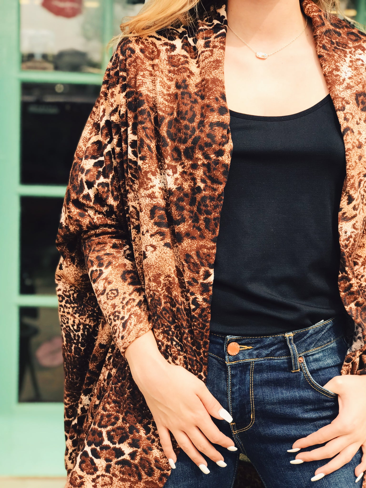 L&B - Brown Leopard Sleeve Cardigan