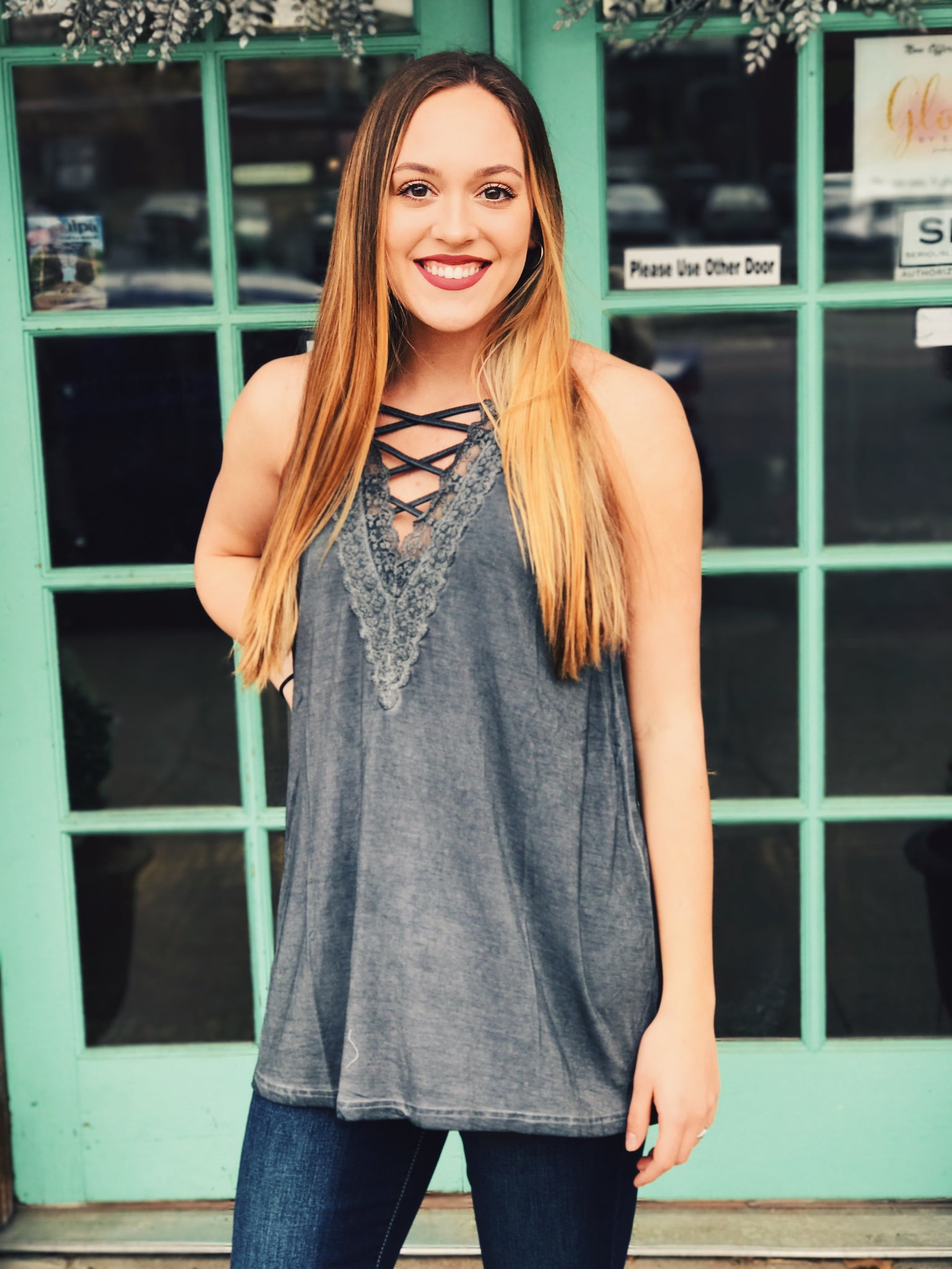 Easel - Lace Up V-Neck Tank