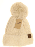 CC - Cable Knit Faux Fur Pom And Cuff Beanie