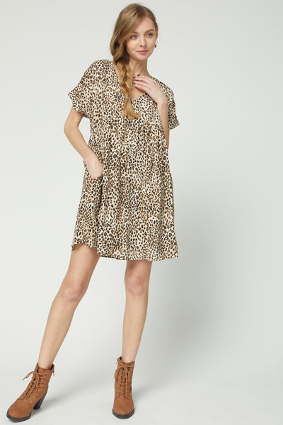 Entro - Leopard Baby Doll W/ Pocket Detail (PLUS SIZE)