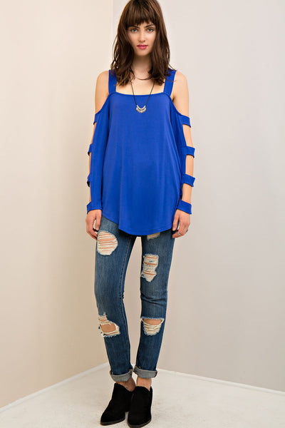Entro - Open Shoulder Strapped Sleeve Blouse