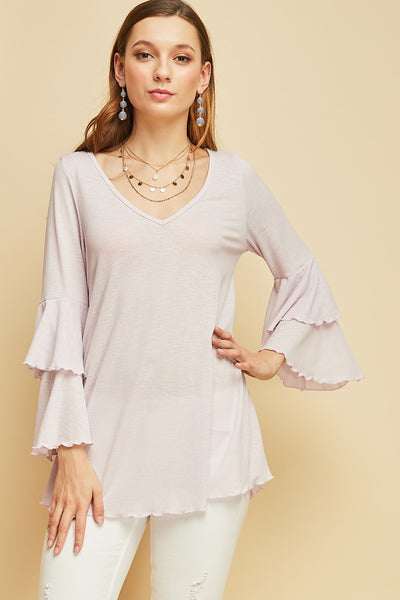 Entro - Double Ruffle Bell Sleeve Blouse (2 COLORS)