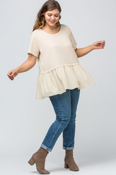Entro - Waffle-Knit Bell Bottom Blouse