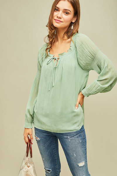 Entro - Sheer Puffy Sleeve Blouse
