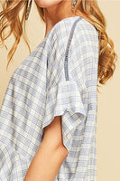 Entro - Plaid Ruffled Bottom Blouse