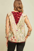 Entro - Sheer Sleeve Floral Lace Blouse W/ Back Tie Detail