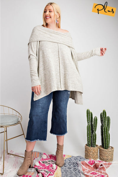 EASEL - Off-Shoulder Raw Seem Tunic