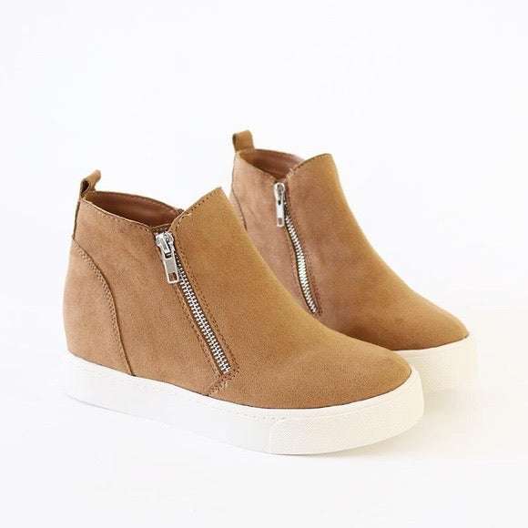 Soda - Tan Taylor Wedge Sneaker